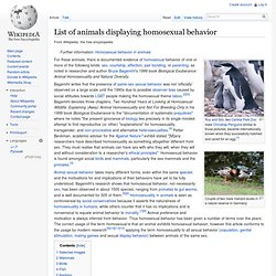 List of animals displaying homosexual behavior - Wikipedia, the