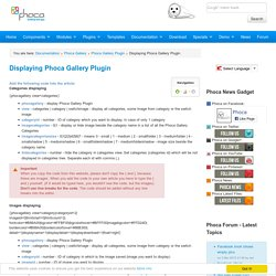 Displaying Phoca Gallery Plugin