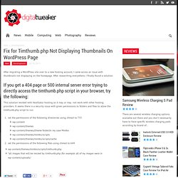 Fix for Timthumb.php Not Displaying Thumbnails On Wordpress Page