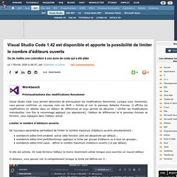 Visual Studio Code 1.42 est disponible et apporte la possibilité de limiter le nombre d'éditeurs ouverts, ou de mettre une coloration à une zone de code qui a été pliée
