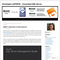 Christophe LAPORTE – Consultant SQL Server