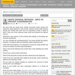 Waste Disposal Methods - Ways to Prevent Contamination « xyupload.com