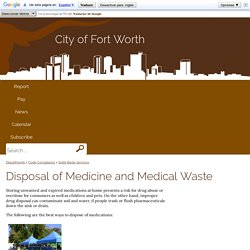 Disposal of Medicine and Medical Waste