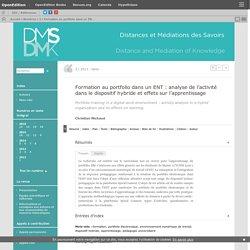Formation au portfoliodans un ENT: analyse de l'activité dans le dispositif hybride et effets sur l'apprentissage