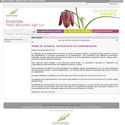 Terre de sciences, un dispositif de communication > DSA > Articles