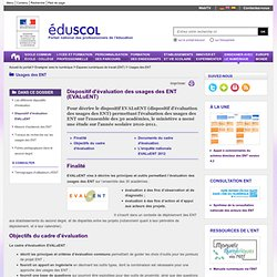 Usages des ENT - Dispositif d'évaluation EVALuENT