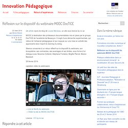 Réflexion sur le dispositif du webinaire MOOC DocTICE - Innovation Pédagogique