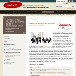 Savoirs CDI: Le CDI dans les nouveaux dispositifs d'aide et d'accompagnement