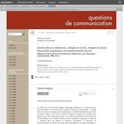 Annette Beguin-Verbrugge, Images en texte, Images du texte. Dispositifs graphiques et communication écrite
