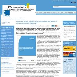 """Rapport d'études """"Dispositifs de participation des jeunes au niveau des conseils régionaux"""""""