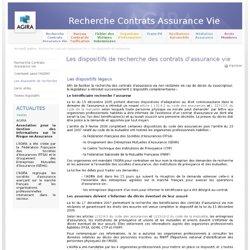 Dispositifs recherche contrats assuranceVie