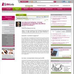 Les valeurs de l'entreprise : Un levier d'engagement à la disposition des DRH en période d'incertitude ?
