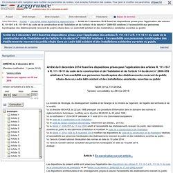 Arrêté du 8 décembre 2014 fixant les dispositions prises pour l'application des articles R. 111-19-7 à R. 111-19-11 du code de la construction et de l'habitation et de l'article 14 du décret n° 2006-555 relatives à l'accessibilité aux personnes handicapée