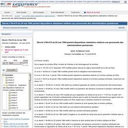 Décret n°94-415 du 24 mai 1994 portant dispositions statutaires relatives aux personnels des administrations parisiennes