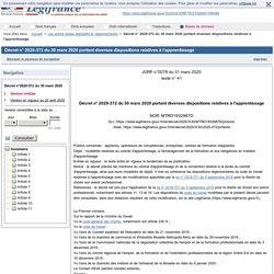 L'apprentissage Décret n°2020-372 du 30 mars 2020 portant diverses dispositions relatives à l'apprentissage