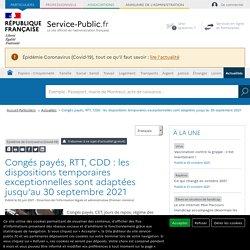 Épidémie de Coronavirus (Covid-19) -Congés payés, RTT, CDD:les dispositions temporaires exceptionnelles sont prolongées jusqu'au 30juin2021