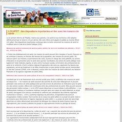 Maisons de santé rurales » LOI HPST : des dispositions importantes en lien avec les maisons de santé