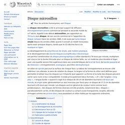 Disque microsillon