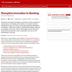 Disruptive Innovation In Banking