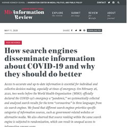 How search engines disseminate information about COVID-19 and why they should do better