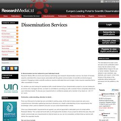 Dissemination Services « Research Media – Europe Research & Scientific Dissemination