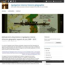 Méthode de la dissertation à l'agrégation interne d'histoire géographie rapports du jury 2009 - 2014 - Agrégation interne histoire géographie