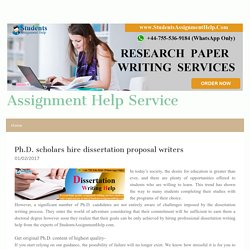 Ph.D. scholars hire dissertation proposal writers - assignmenthelpsah