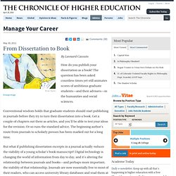 From Dissertation to Book - Manage Your Career