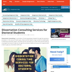 Dissertation Consulting Services for Doctoral Students