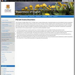 PhD with Creative Dissertation | Department of English