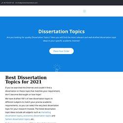 Dissertation Topics & Ideas