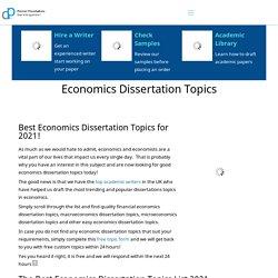 Economics Dissertation Topics & Ideas