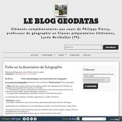 Fiche sur la dissertation de Géographie - le blog geodatas