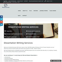 PhD Thesis Writing, Dissertation Writing & Research Paper Writing Services