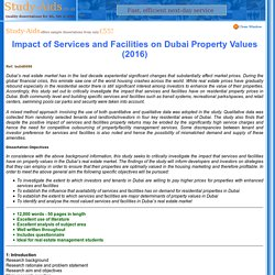 Real Estate Dissertation, Dubai Property Values, Investors