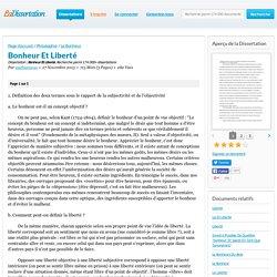 Bonheur Et Liberté - Dissertation - mathiasnous