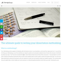 The ultimate guide to writing your dissertation methodology