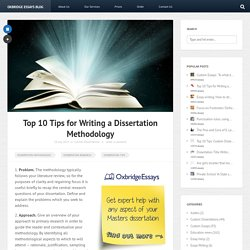 Dissertation Methodology Tips - Define Dissertation