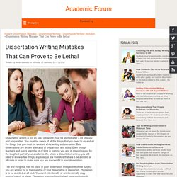 Dissertation Writing Mistakes That Can Prove to Be Lethal