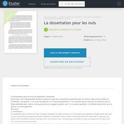 La dissertation pour les nuls - Comptes Rendus - Nathaniel94