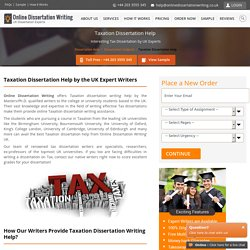 Tax Dissertation Help & Writing Services Online by UK Experts