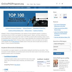 Top 100 Thesis & Dissertation References on the Web: Online Ph.D. Program