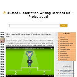 What you should know about choosing a dissertation topic