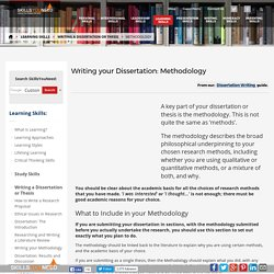 Writing your Dissertation: Methodology