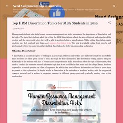 Top HRM Dissertation Topics for MBA Students in 2019