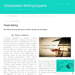 Dissertation thesis writing services