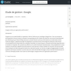 Etude de gestion : Google - Dissertations - Chanelgabba