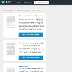 Dissertations gratuites sur Mcdonald s Performance