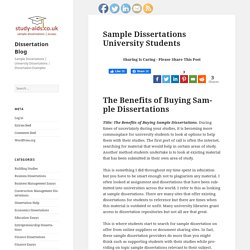 Sample Dissertations University Students