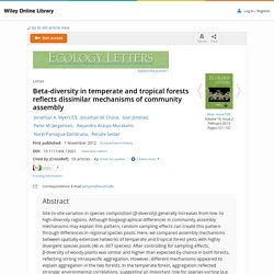 Beta-diversity in temperate and tropical forests reflects dissimilar mechanisms of community assembly - Myers - 2012 - Ecology Letters